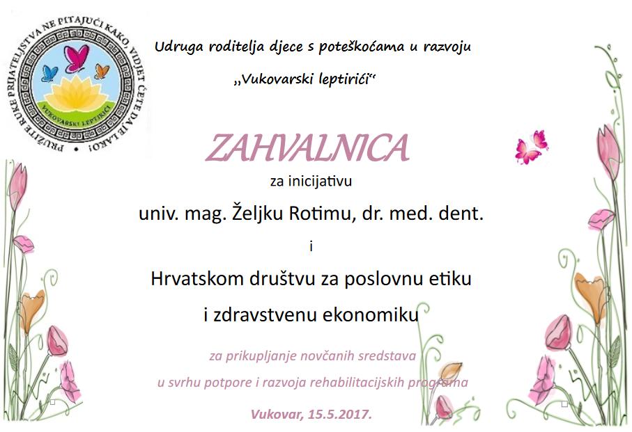 Zahvalnica Vukovarski leptirići